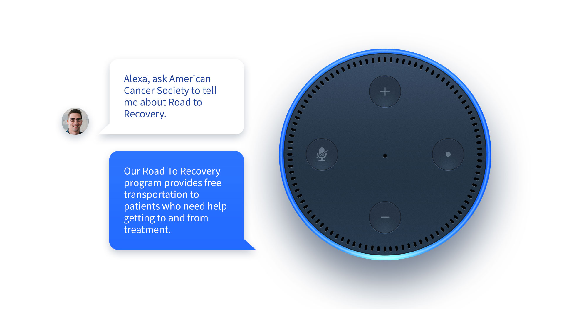 Amazon Alexa with speech bubbles showcasing an Alexa skill.
