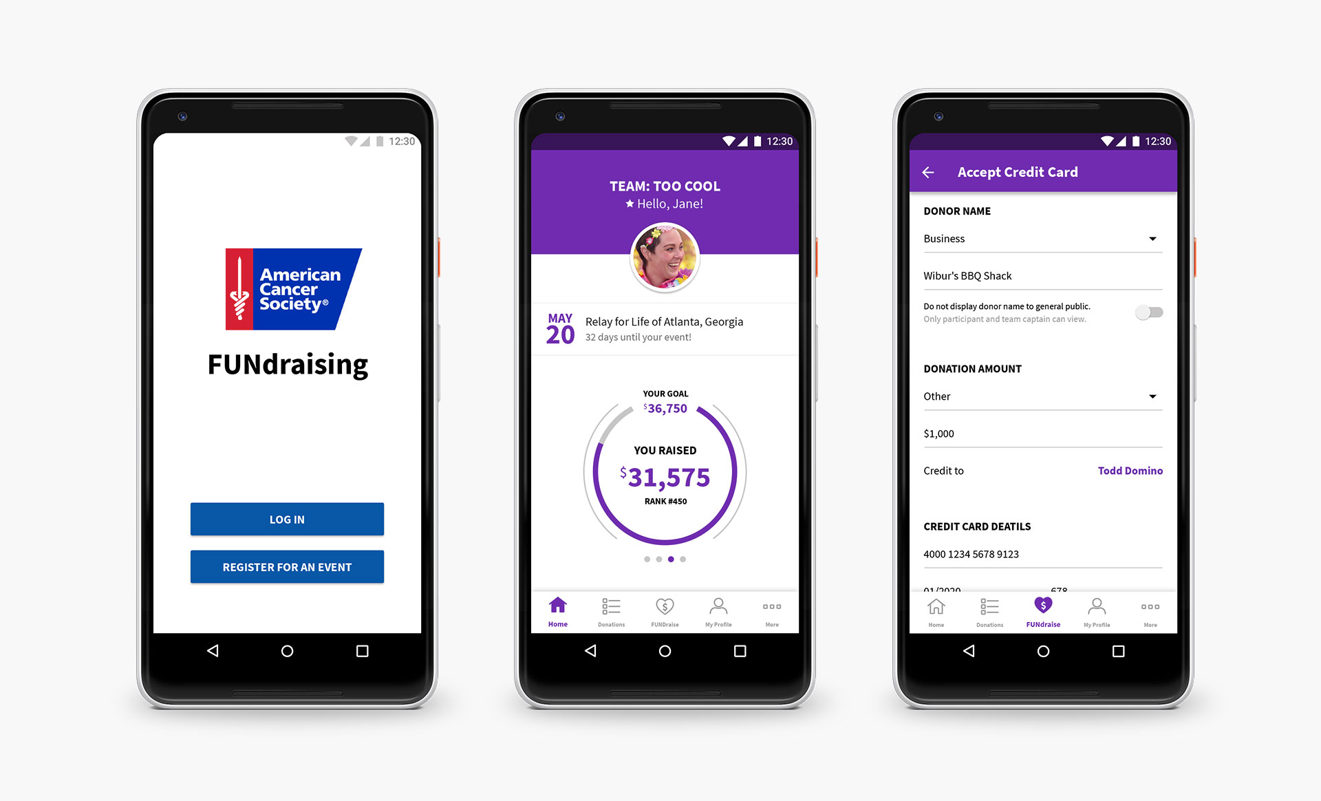 Mobile phones showcasing the Android version of the ACS mobile fundraising app.