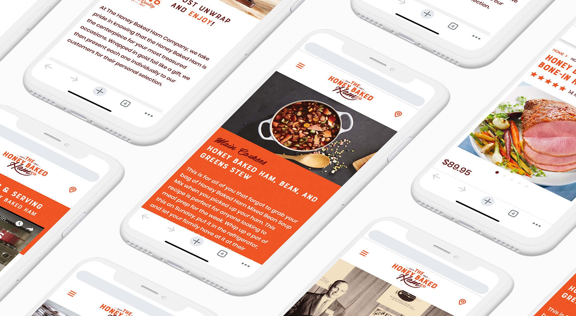 Mobile phone mockups of the Honey Baked Ham Company website.