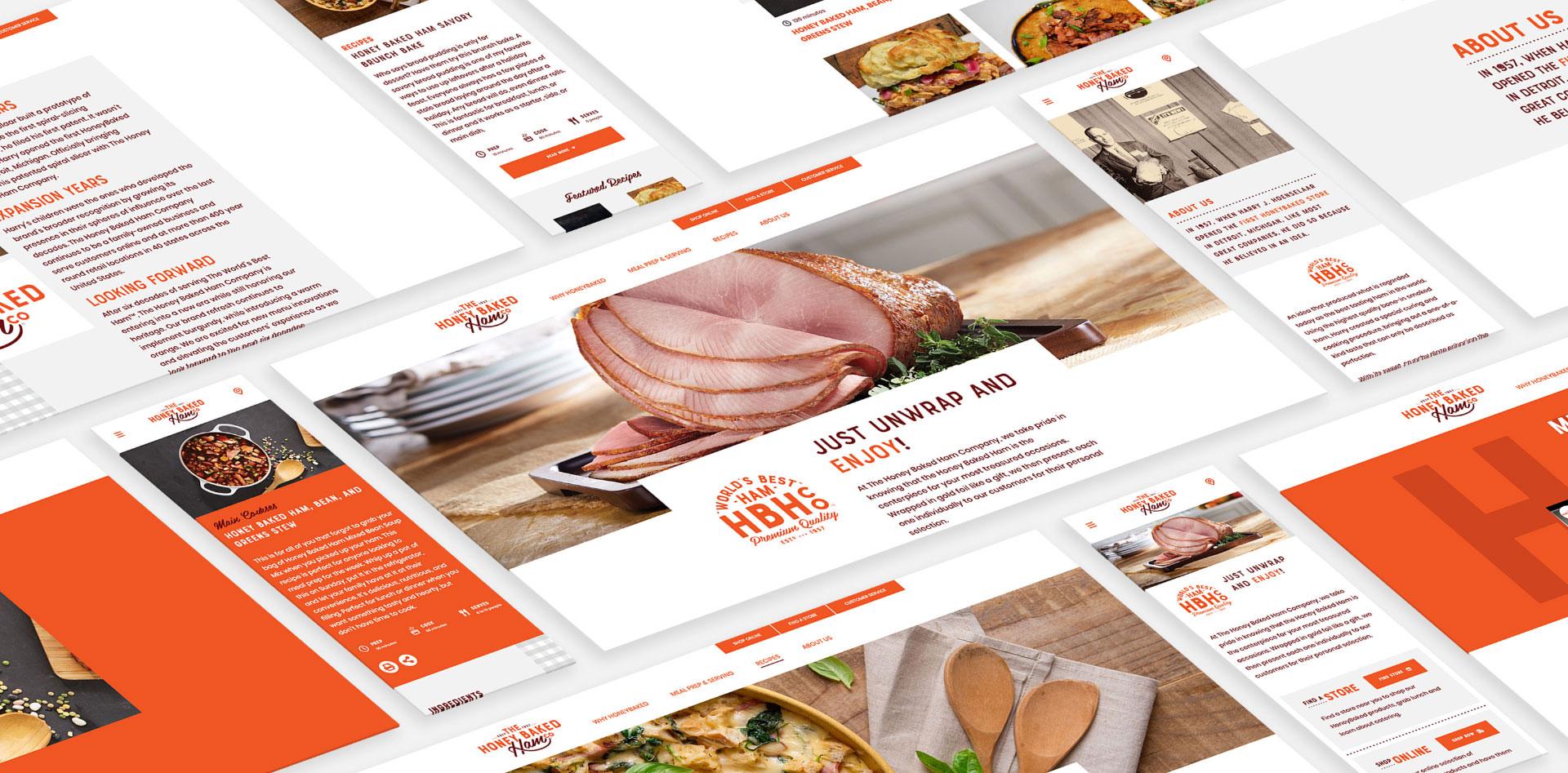 Tiled mockups of the Honey Baked Hame Company website.