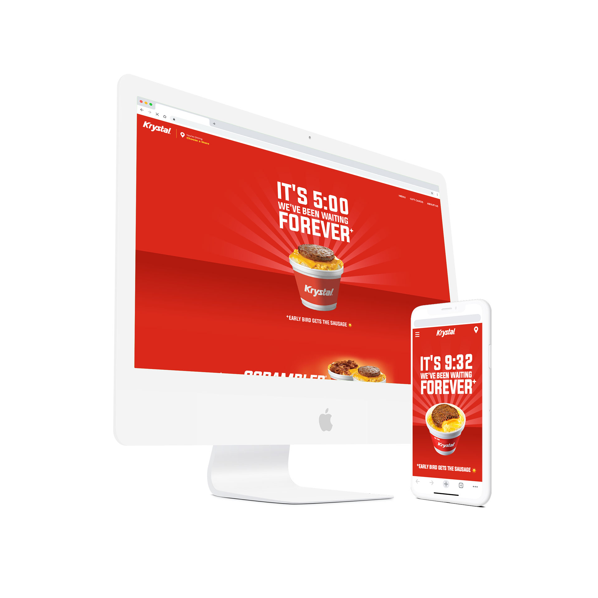 Desktop and mobile devices featuring the Krystal website.