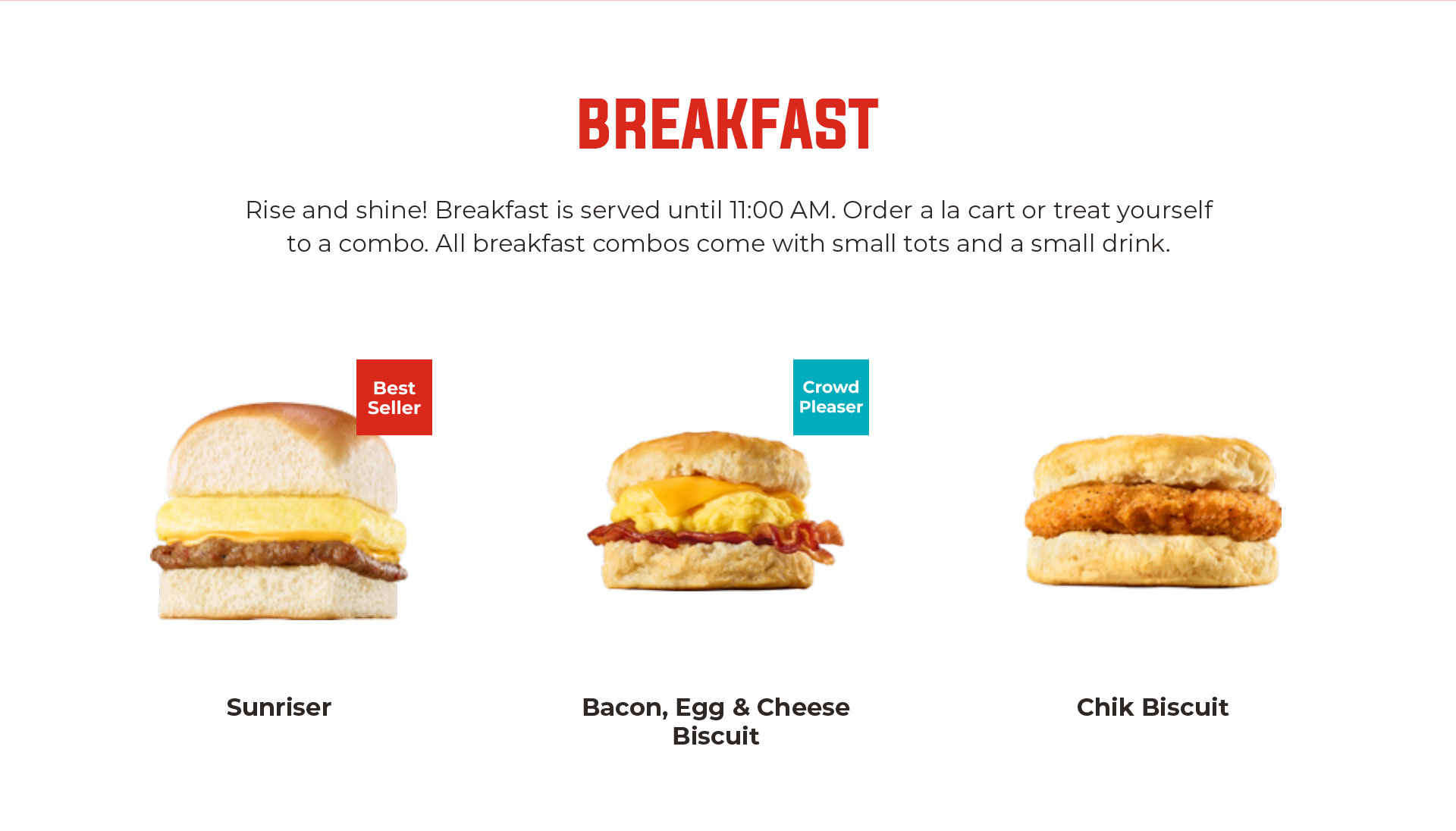Image of the breakfast menu.