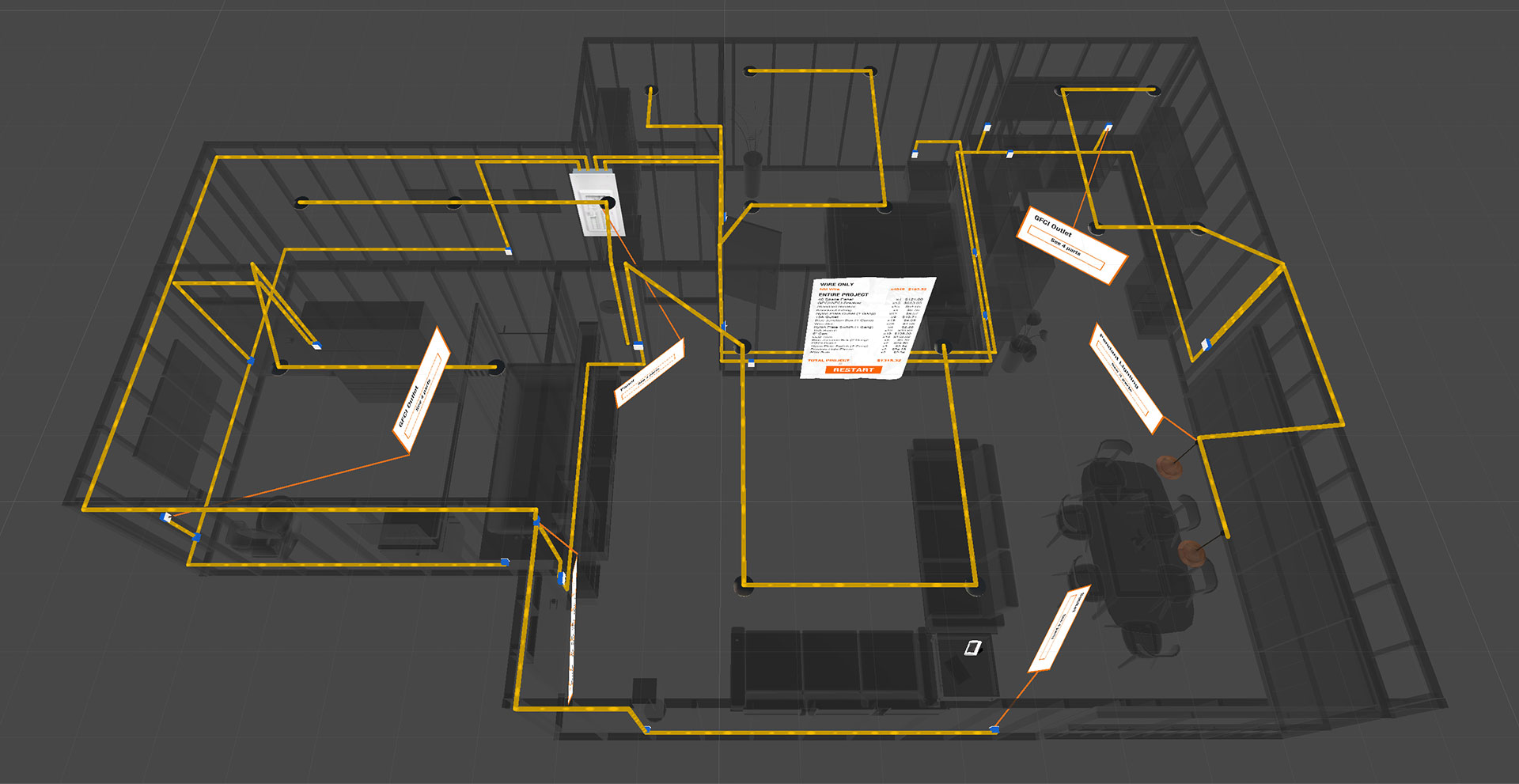 Bird's eye view, X-ray style image of wiring running throughout the entirety a residential space.