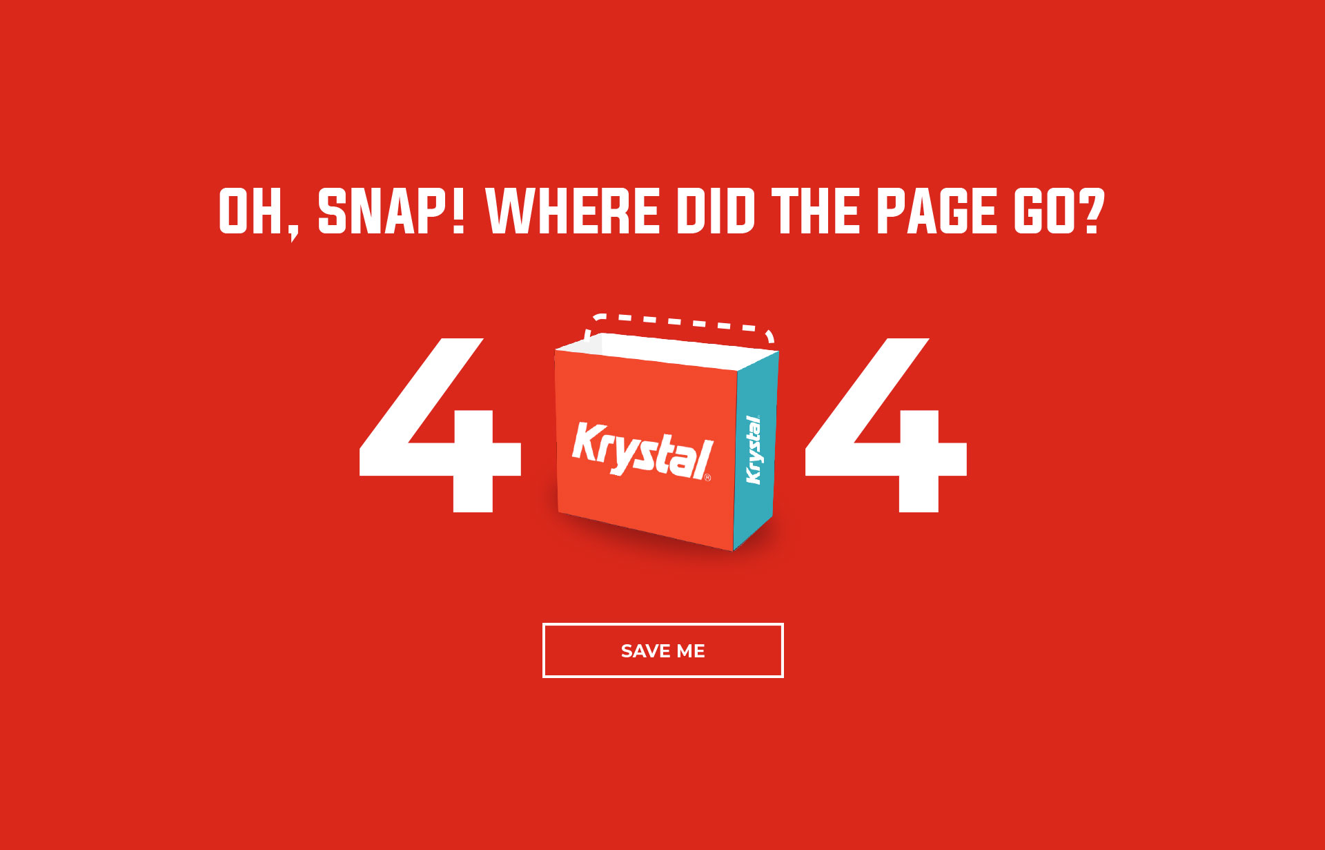 404 error page with an empty Krystal box where the zero is located.