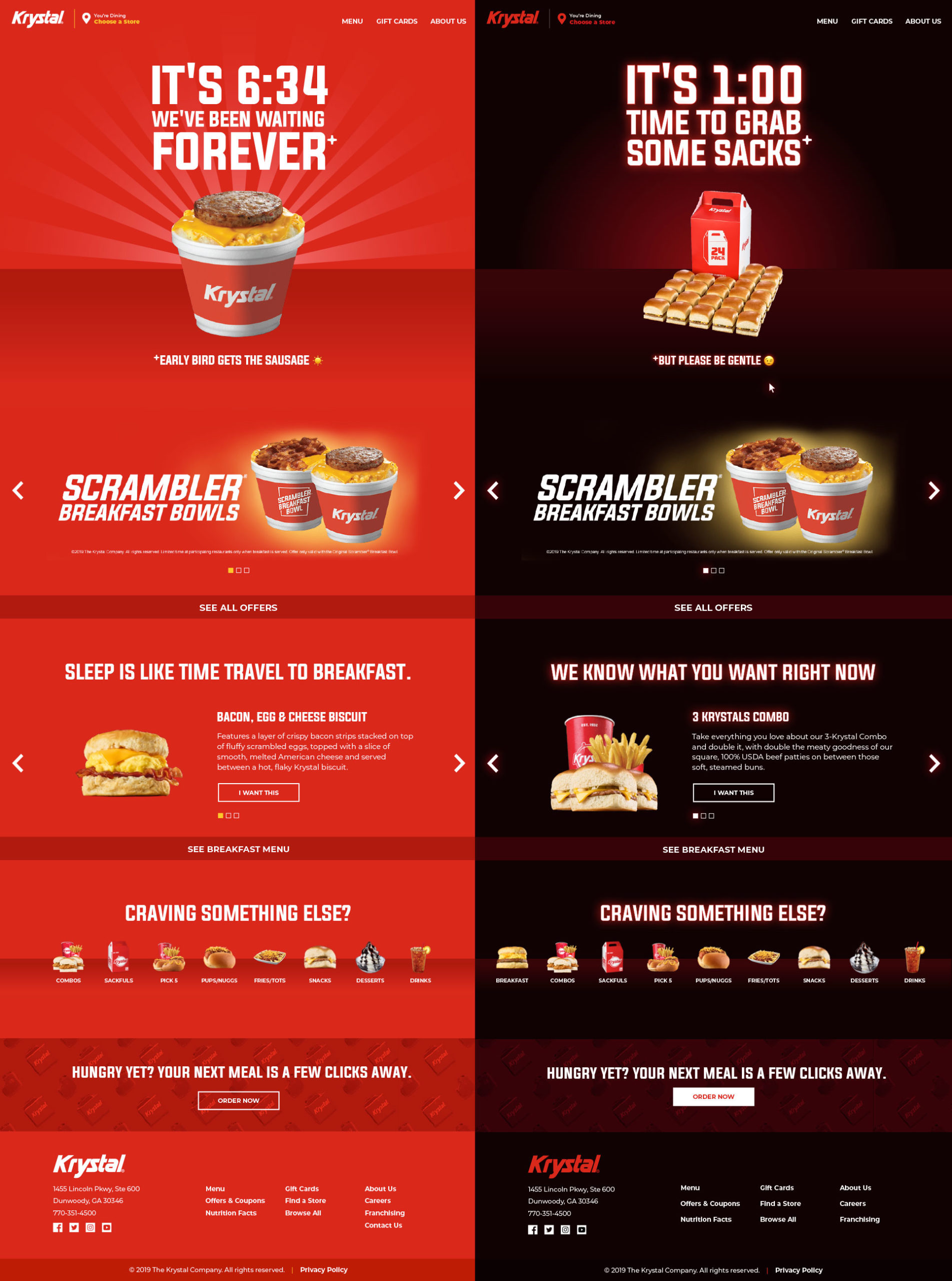Image showcasing the day and night mode of the Krystal website.