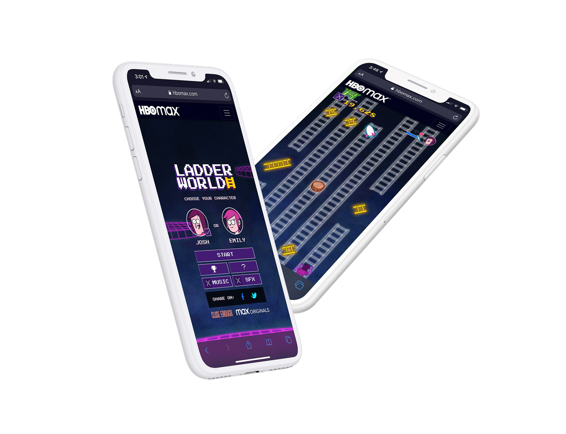 Mobile phones showcasing the game on an iOS web browser.