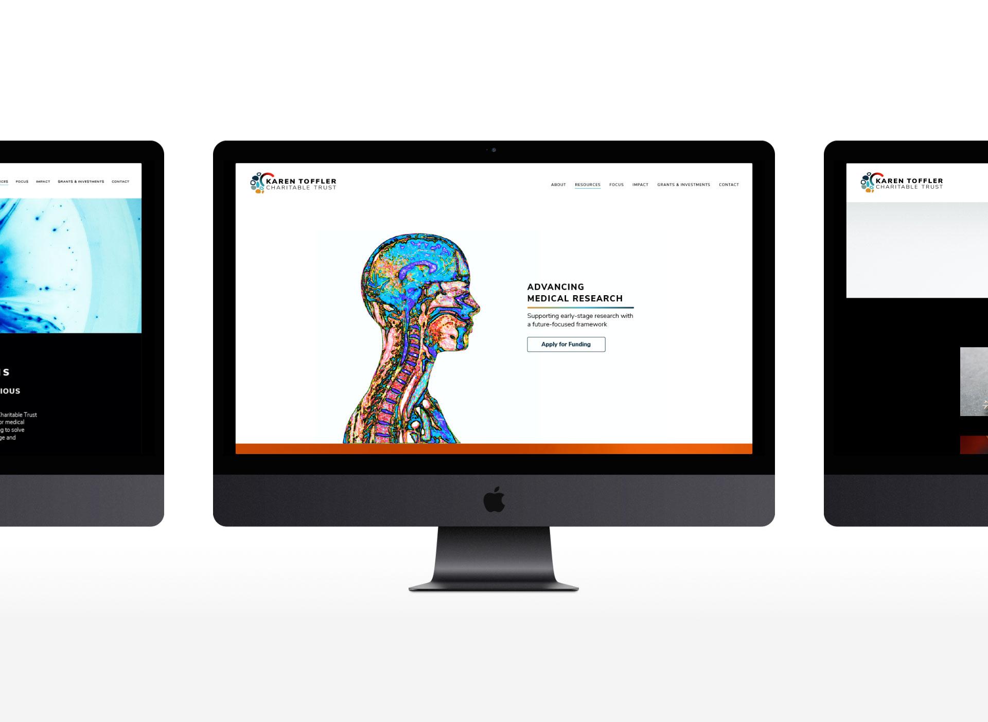 Desktop computers showing pages from the Karen Toffler website.