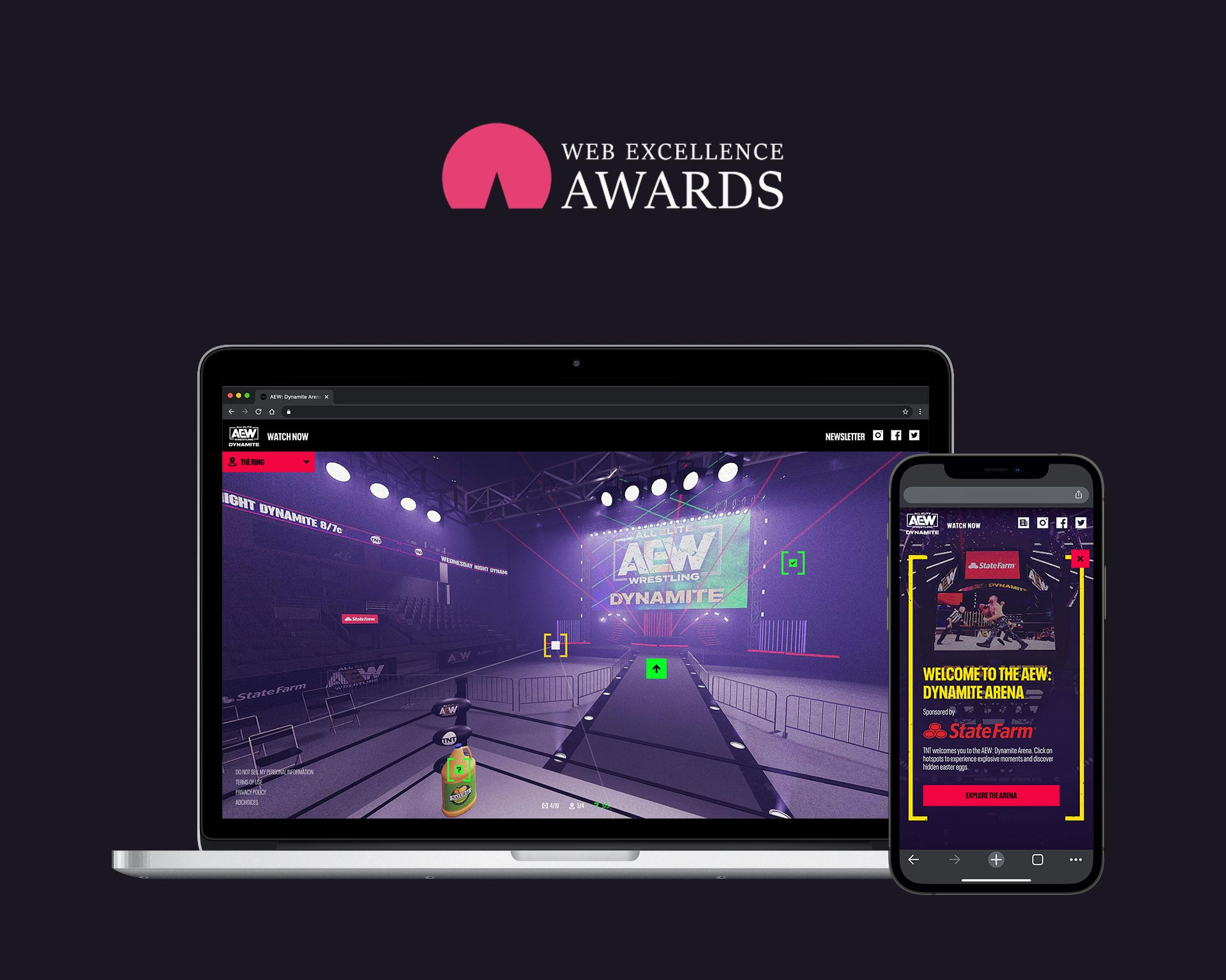 Winner of the 2021 Web Excellence Award in web entertainment. Laptop and phone devices showcase the AEW arena, laser lighting and clickable points of interest floating around the user in 3D space.