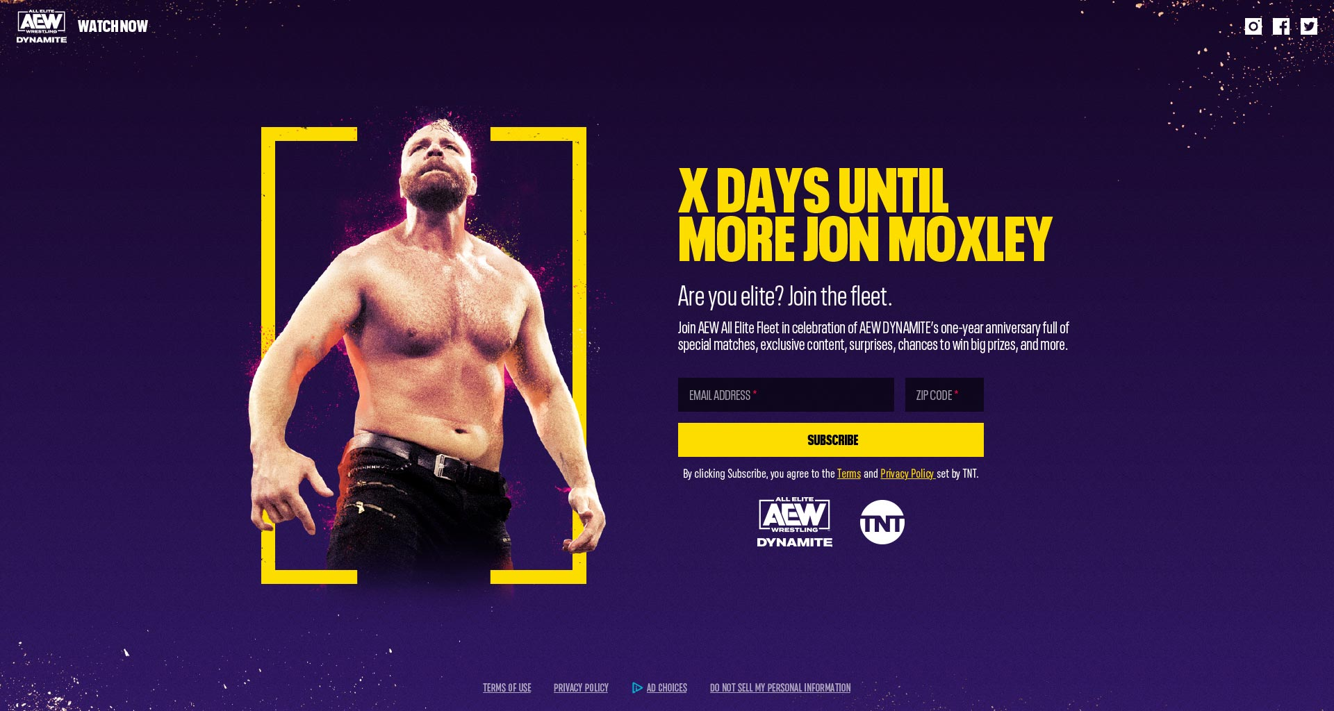 Landing page for AEW web experience before launch date. Wrestler Jon Moxley displayed on the left and a sign up form on the right.
