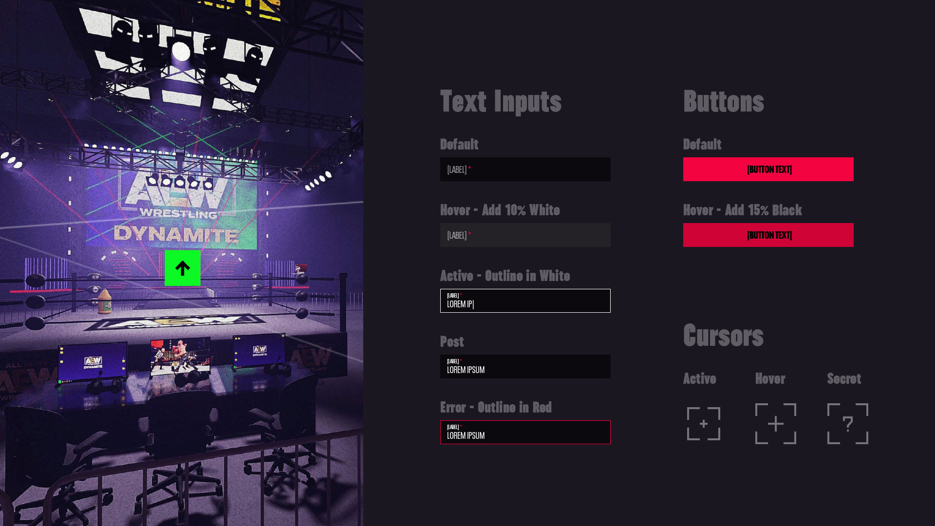 A style sheet showing all of the basic user interface assets for the AEW experience including 3D renderings, text fields, buttons and cursor styles.